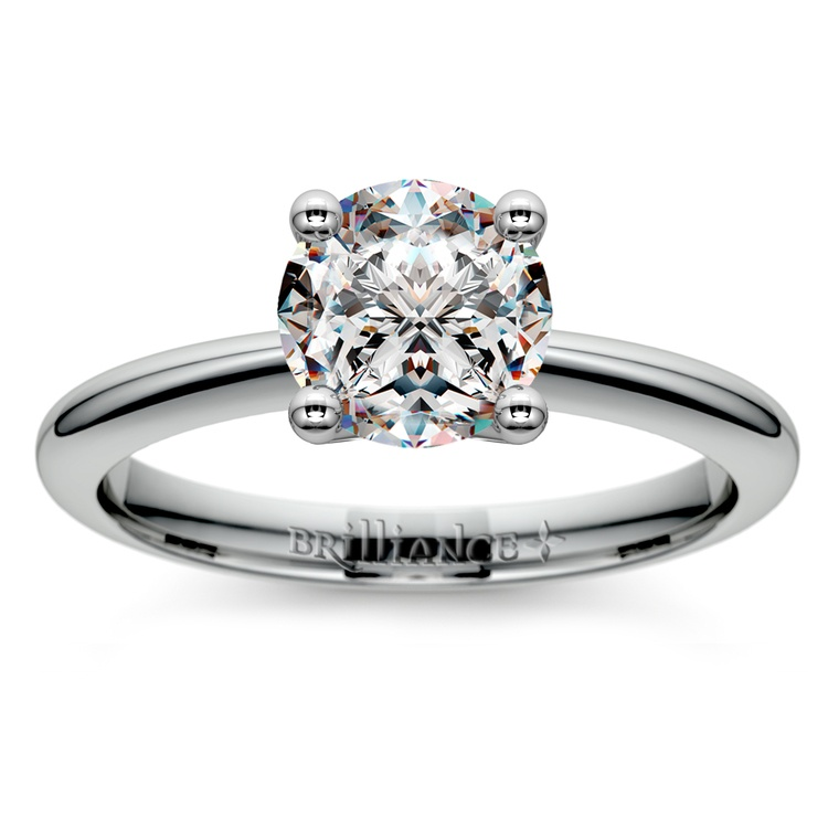Knife Edge Solitaire Engagement Ring in White Gold | 01