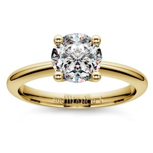 Knife Edge Solitaire Engagement Ring in Yellow Gold