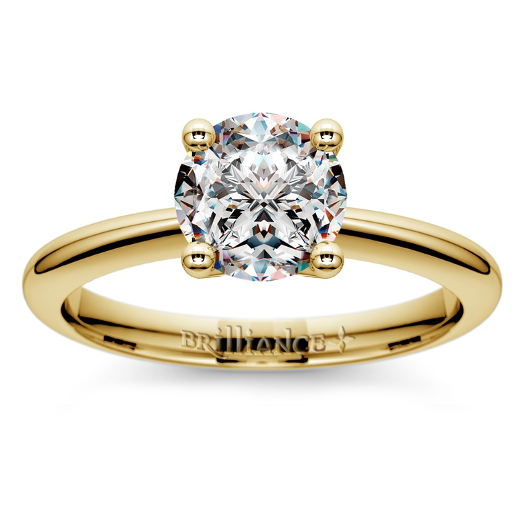 Knife Edge Solitaire Engagement Ring in Yellow Gold | 01