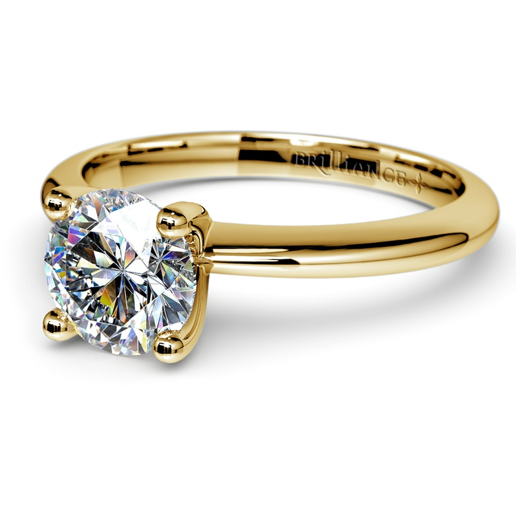 Knife Edge Solitaire Engagement Ring in Yellow Gold | 04
