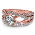 Layered Crossover Pave Diamond Engagement Ring in Rose Gold | Thumbnail 04