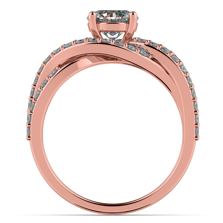 Layered Crossover Pave Diamond Engagement Ring in Rose Gold | 02
