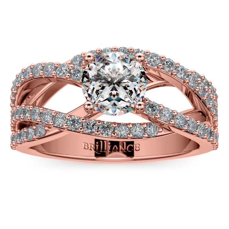 Layered Crossover Pave Diamond Engagement Ring in Rose Gold | 01