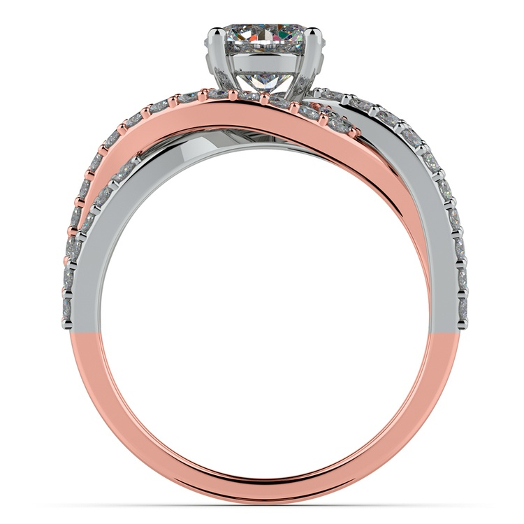 Layered Crossover Pave Diamond Engagement Ring in Rose & White Gold | 02