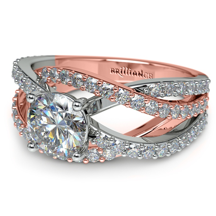 Layered Crossover Pave Diamond Engagement Ring in Rose & White Gold | 04