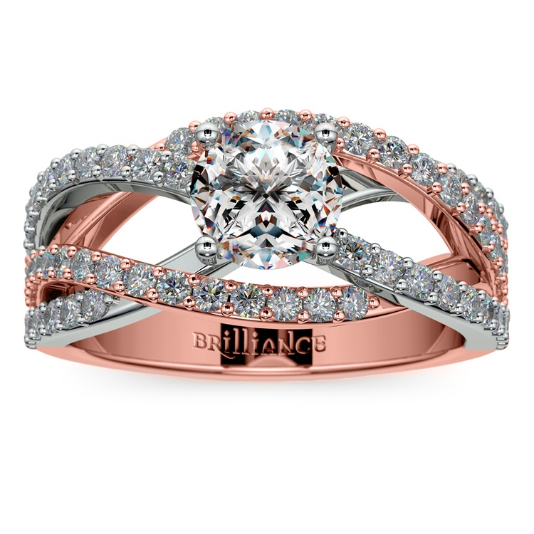Layered Crossover Pave Diamond Engagement Ring in Rose & White Gold | 01