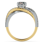 Layered Crossover Pave Diamond Engagement Ring in Yellow Gold & Platinum | Thumbnail 02