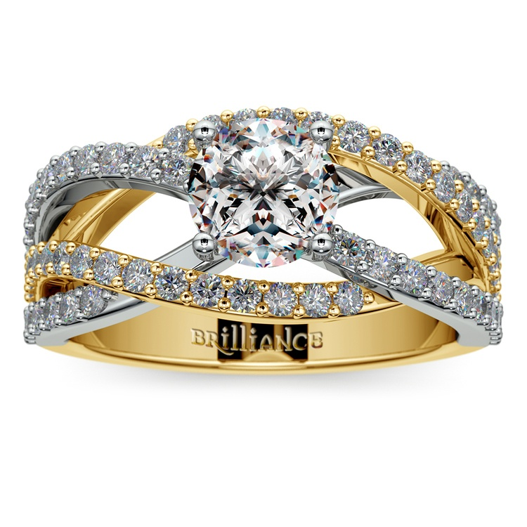 Layered Crossover Pave Diamond Engagement Ring in Yellow Gold & Platinum | 01