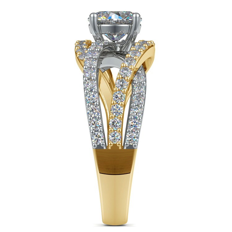 Layered Crossover Pave Diamond Engagement Ring in Yellow Gold & Platinum | 03