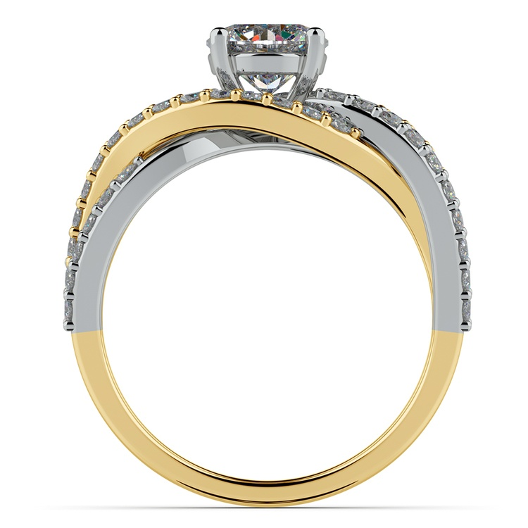Layered Crossover Pave Diamond Engagement Ring in Yellow & White Gold | 02