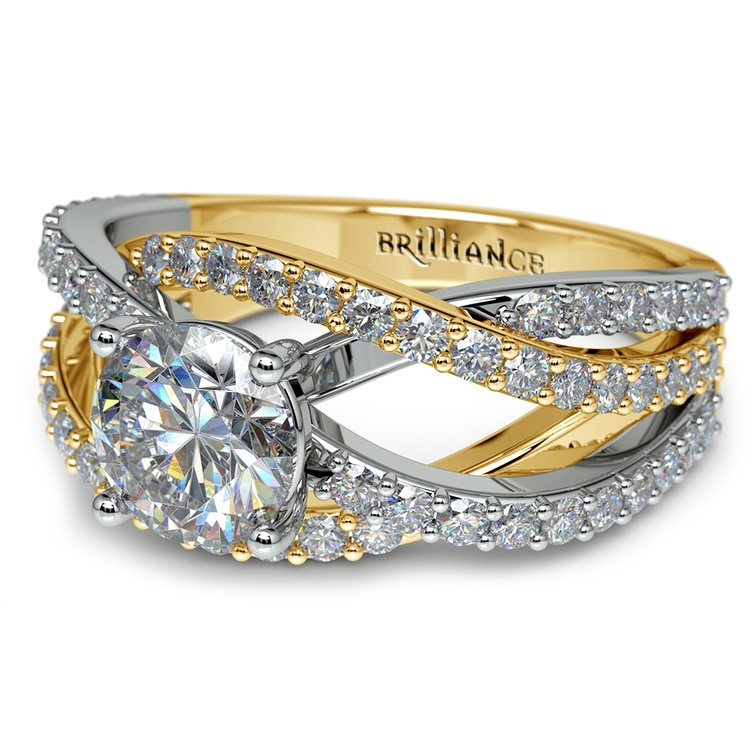 Layered Crossover Pave Diamond Engagement Ring in Yellow & White Gold | 04