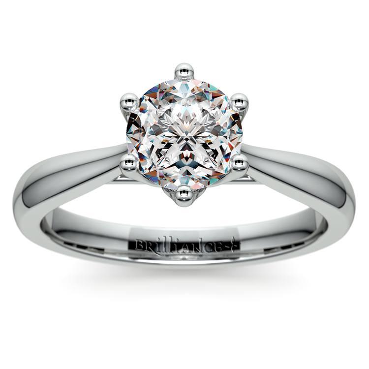 Lotus Diamond Engagement Ring in White Gold   01