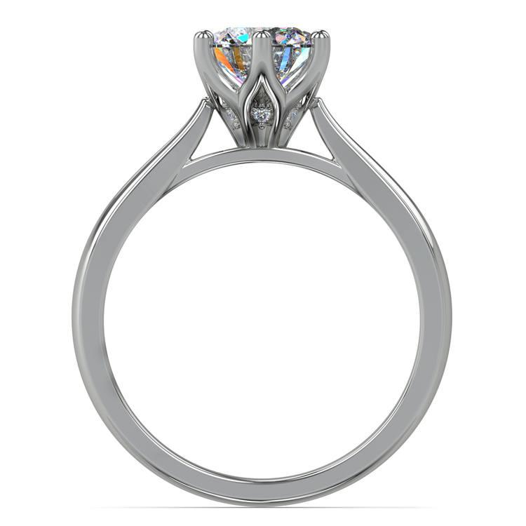 Lotus Diamond Engagement Ring in White Gold   02