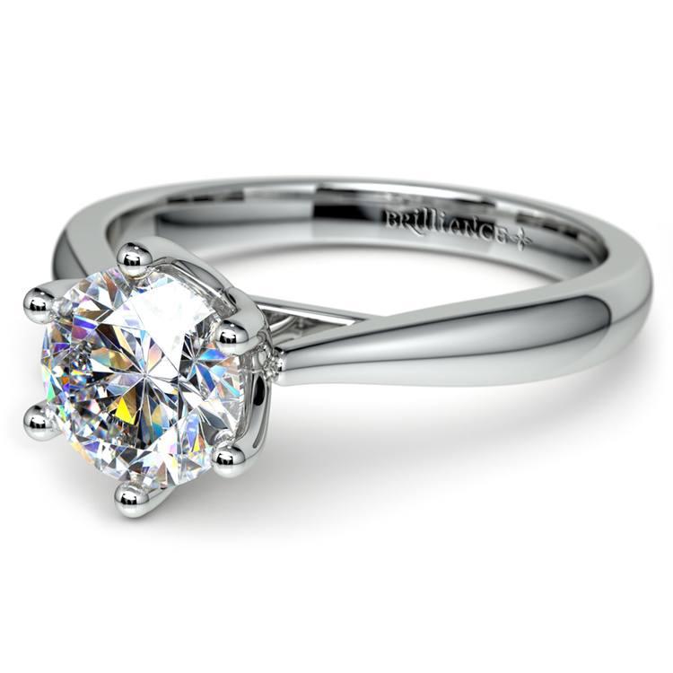Lotus Diamond Engagement Ring in White Gold   04