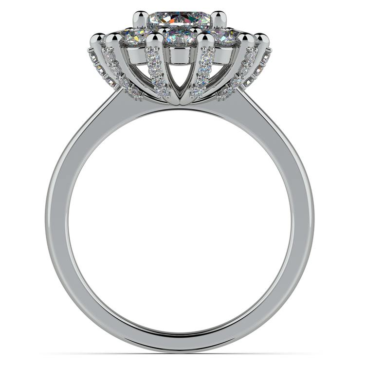 Luxe Floral Halo Ring with Diamond Prongs in Platinum | 02