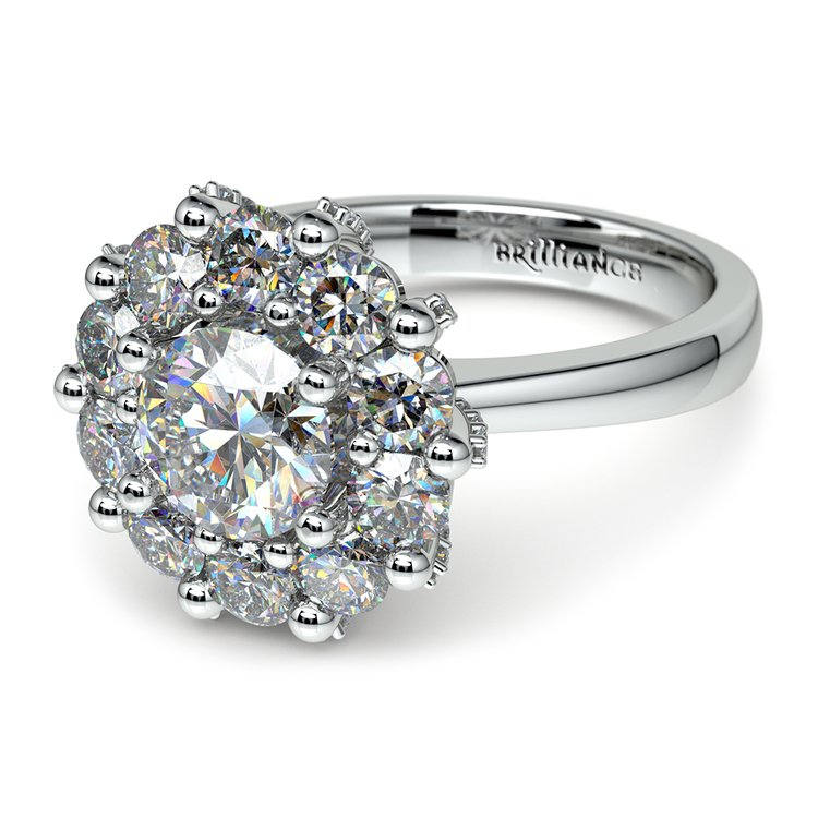 Luxe Floral Halo Ring with Diamond Prongs in Platinum | 04