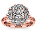 Luxe Floral Halo Ring with Diamond Prongs in Rose Gold | Thumbnail 01