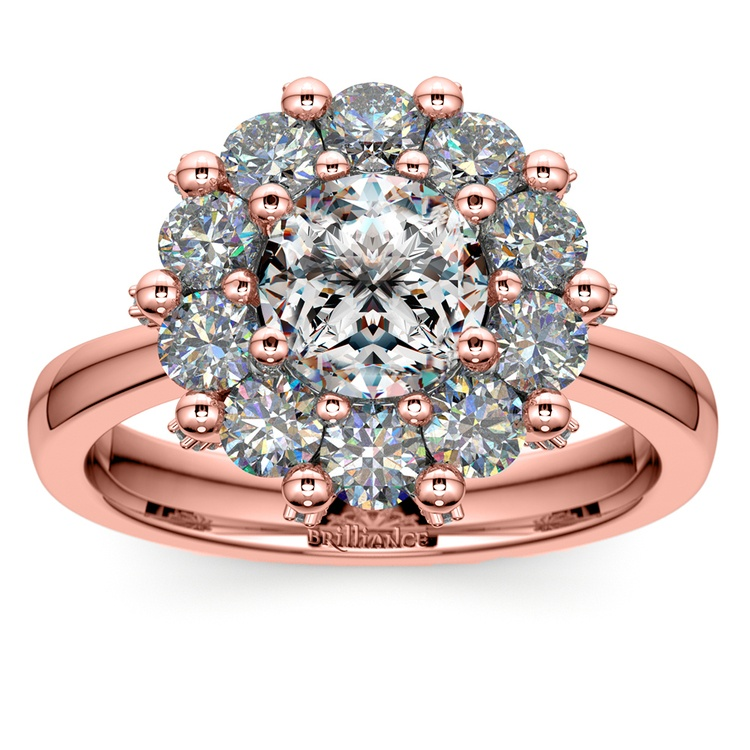 Luxe Floral Halo Ring with Diamond Prongs in Rose Gold | 01