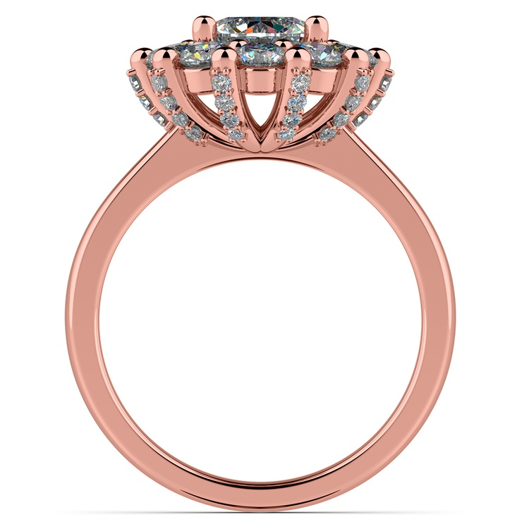 Luxe Floral Halo Ring with Diamond Prongs in Rose Gold | 02