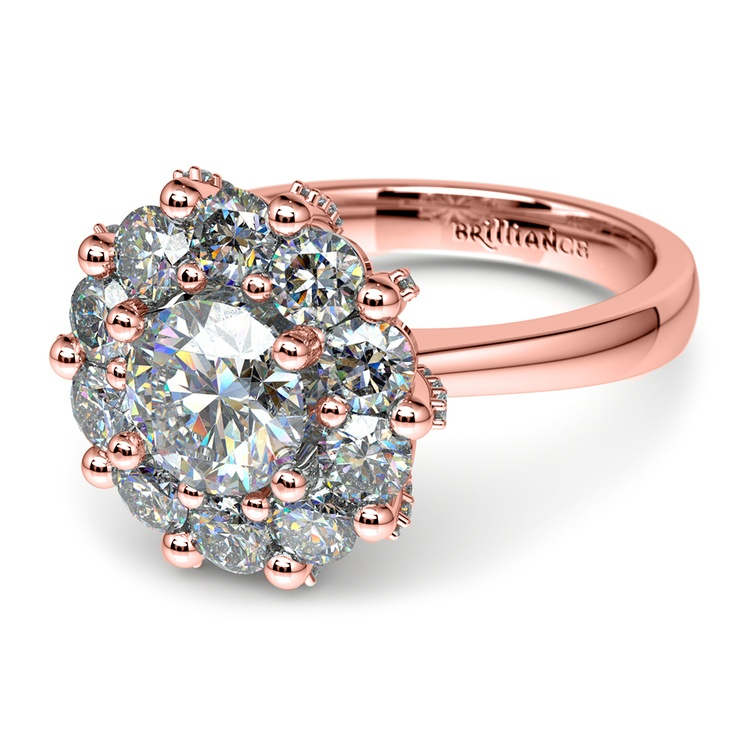 Luxe Floral Halo Ring with Diamond Prongs in Rose Gold | 04