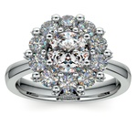 Luxe Floral Halo Ring with Diamond Prongs in White Gold | Thumbnail 01