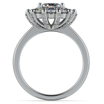Luxe Floral Halo Ring with Diamond Prongs in White Gold | Thumbnail 02