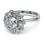 Luxe Floral Halo Ring with Diamond Prongs in White Gold | Thumbnail 04