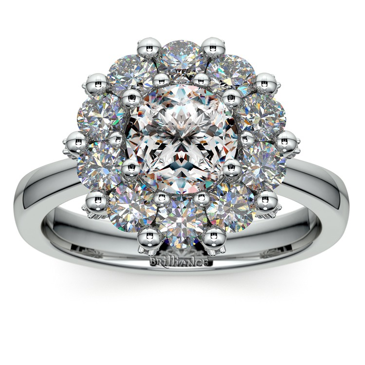 Luxe Floral Halo Ring with Diamond Prongs in White Gold | 01