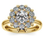 Luxe Floral Halo Ring with Diamond Prongs in Yellow Gold | Thumbnail 01