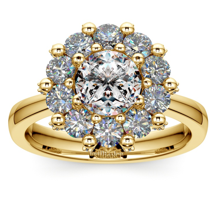 Luxe Floral Halo Ring with Diamond Prongs in Yellow Gold | 01