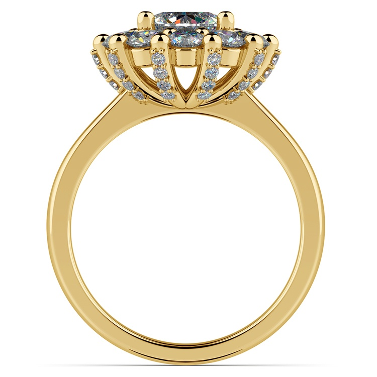 Luxe Floral Halo Ring with Diamond Prongs in Yellow Gold | 02