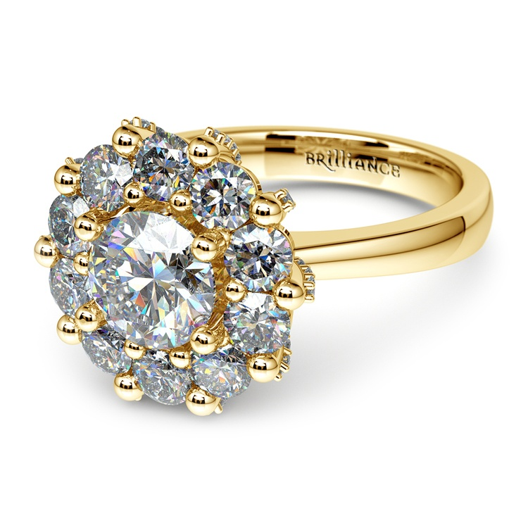 Luxe Floral Halo Ring with Diamond Prongs in Yellow Gold | 04