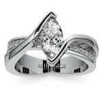 Marquise Bezel Diamond Bridge Engagement Ring In Platinum | Thumbnail 01
