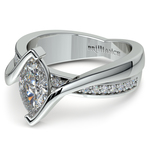 Marquise Bezel Diamond Bridge Engagement Ring In Platinum | Thumbnail 04