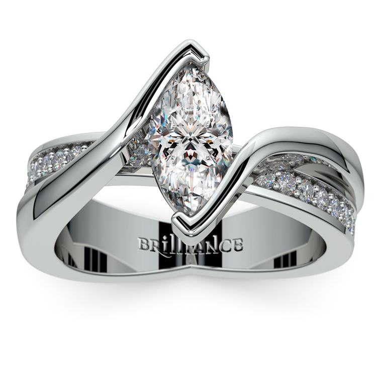Marquise Bezel Diamond Bridge Engagement Ring In Platinum | 01