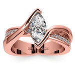 Marquise Bezel Diamond Bridge Engagement Ring In Rose Gold | Thumbnail 01