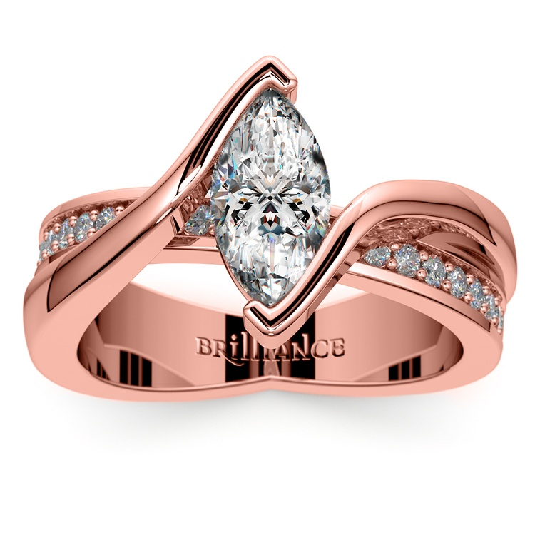 Marquise Bezel Diamond Bridge Engagement Ring In Rose Gold | 01