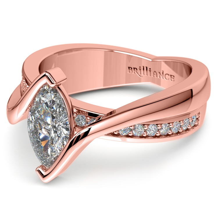 Marquise Bezel Diamond Bridge Engagement Ring In Rose Gold | 04