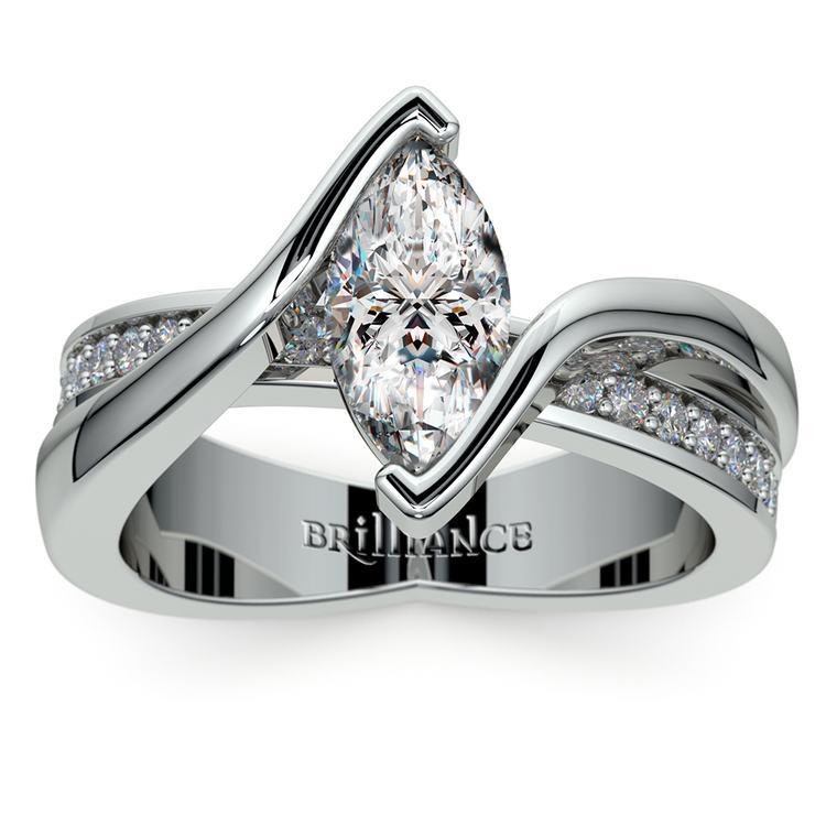 Marquise Bezel Diamond Bridge Engagement Ring In White Gold | 01