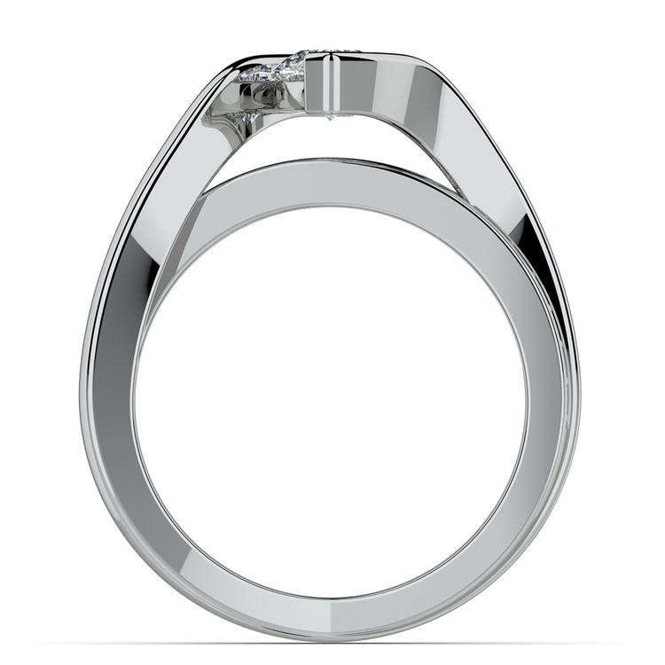 Marquise Bezel Diamond Bridge Engagement Ring In White Gold | 02