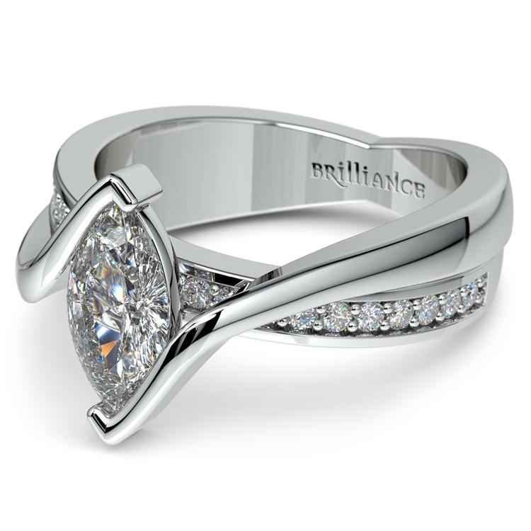 Marquise Bezel Diamond Bridge Engagement Ring In White Gold | 04