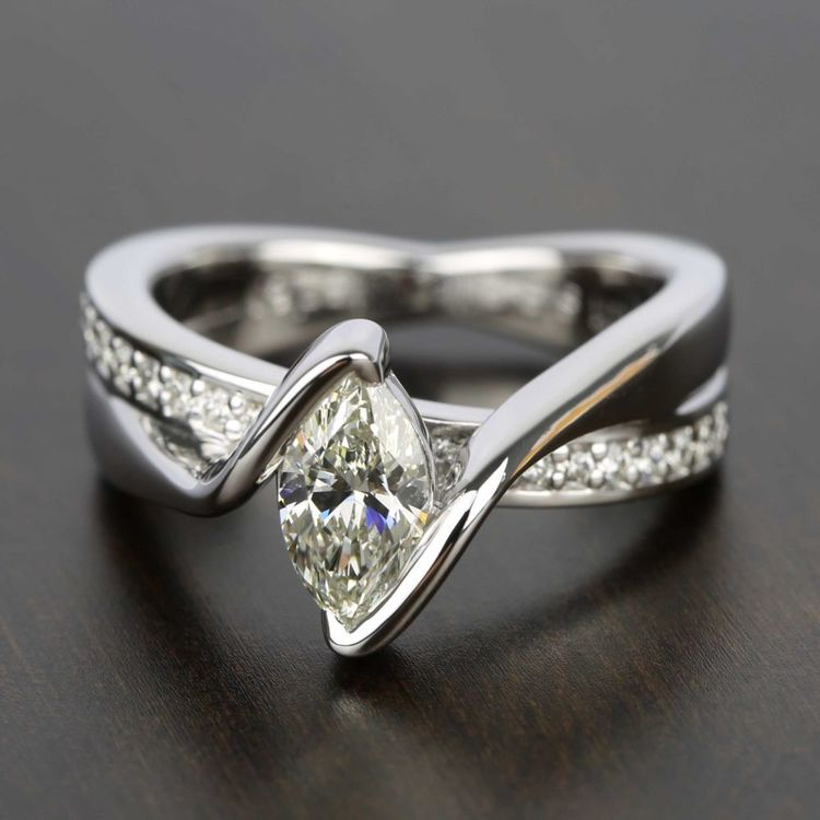 Marquise Bezel Diamond Bridge Engagement Ring In White Gold | 05