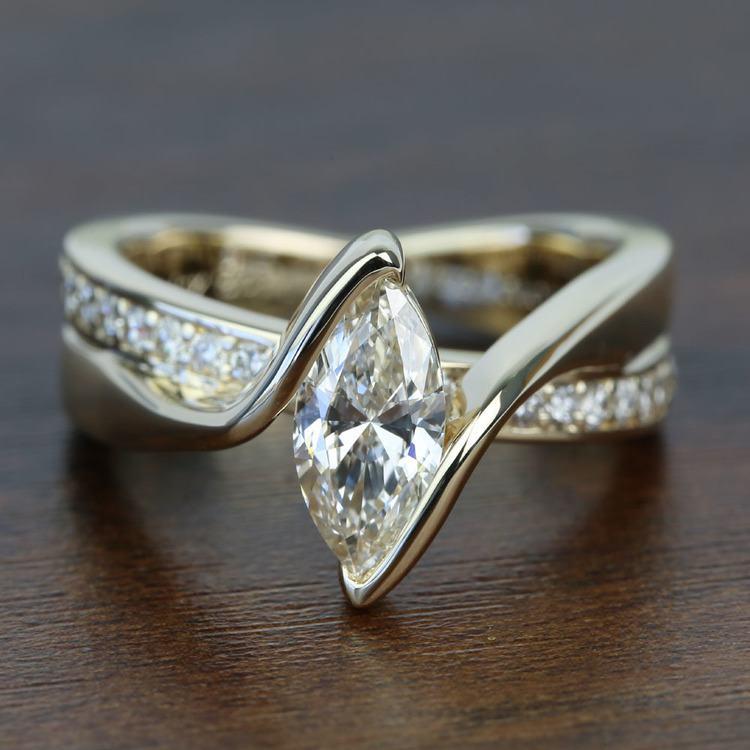 Marquise Bezel Diamond Bridge Engagement Ring In Yellow Gold | 05
