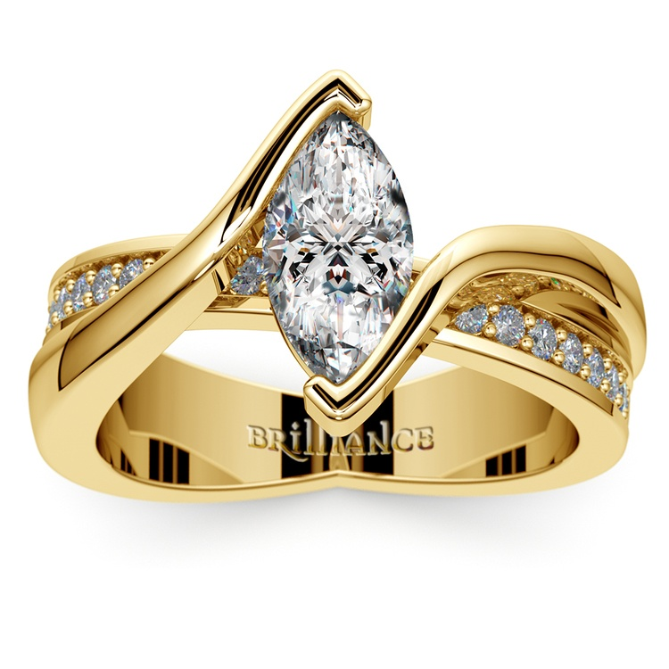 Marquise Bezel Diamond Bridge Engagement Ring In Yellow Gold | 01