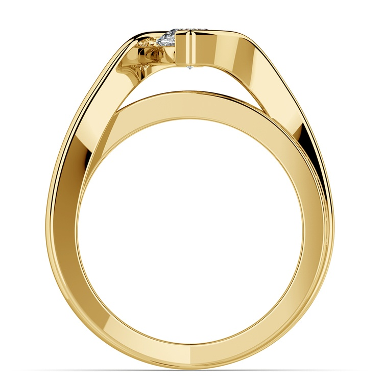 Marquise Bezel Diamond Bridge Engagement Ring In Yellow Gold | 02