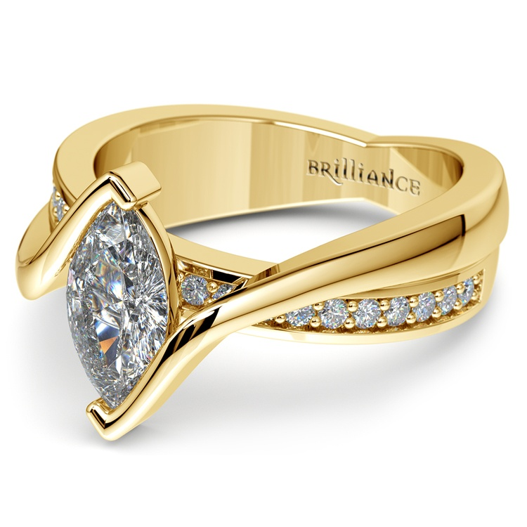 Marquise Bezel Diamond Bridge Engagement Ring In Yellow Gold | 04