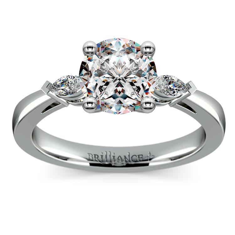 Marquise Diamond Engagement Ring in Platinum (1/4 ctw)   01