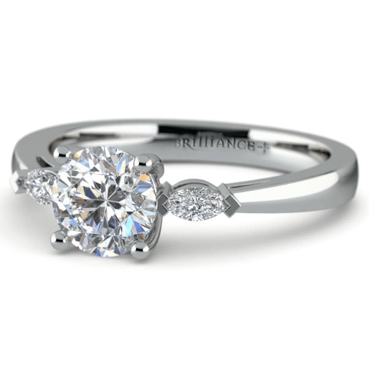 Marquise Diamond Engagement Ring in Platinum (1/4 ctw)   04