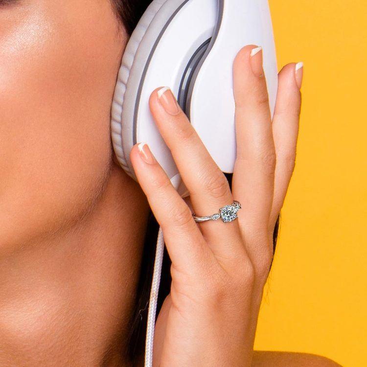 Marquise Diamond Engagement Ring in Platinum (1/4 ctw)   06