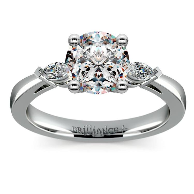 Marquise Diamond Engagement Ring in White Gold (1/4 ctw) | 01